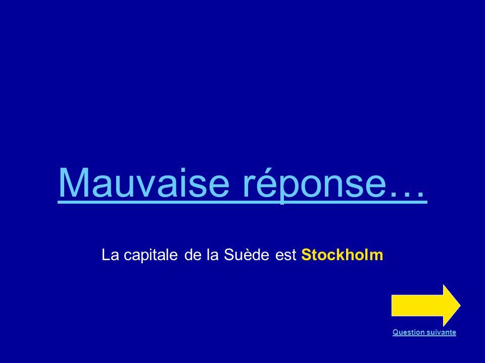 Bonne réponse !!! La capitale de la Suède est Stockholm Question suivante