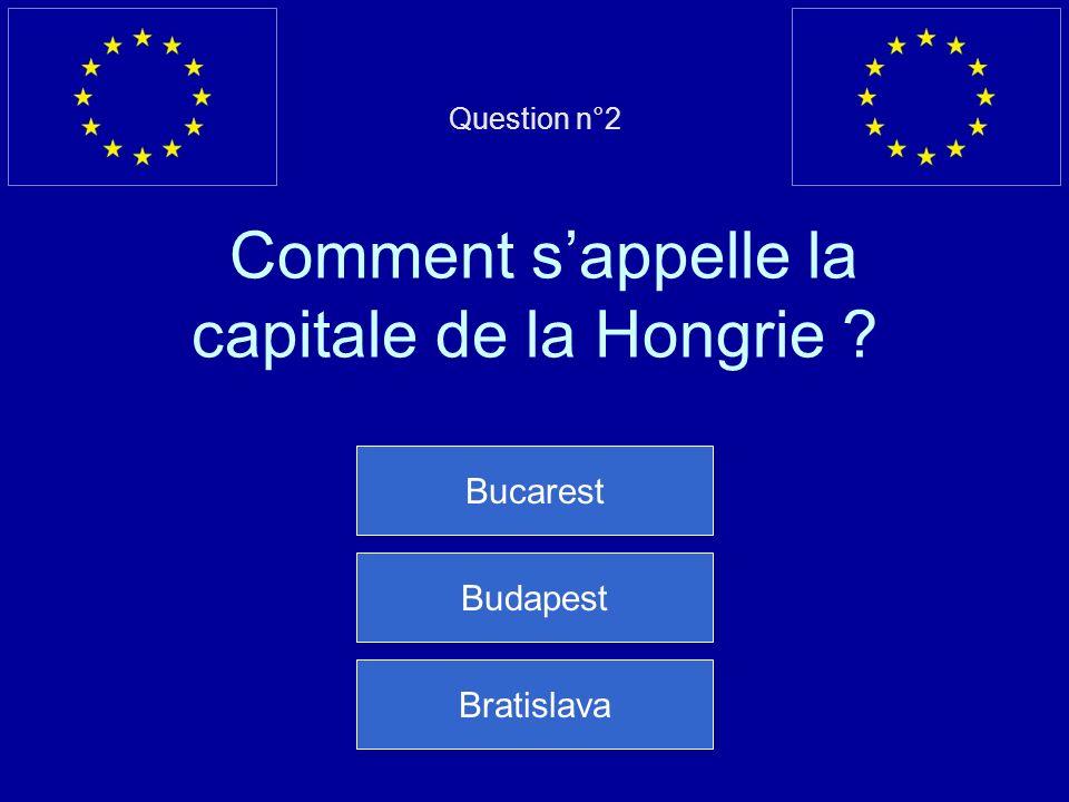 Question n°2 Comment sappelle la capitale de la Hongrie ? Bucarest Budapest Bratislava