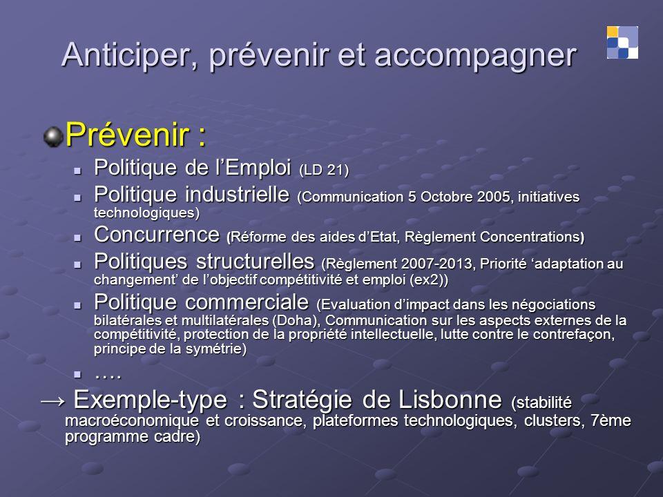 Anticiper, prévenir et accompagner Prévenir : Politique de lEmploi (LD 21) Politique de lEmploi (LD 21) Politique industrielle (Communication 5 Octobr