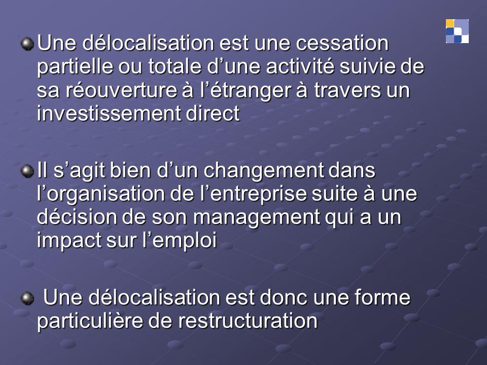 Une délocalisation est une cessation partielle ou totale dune activité suivie de sa réouverture à létranger à travers un investissement direct Il sagi