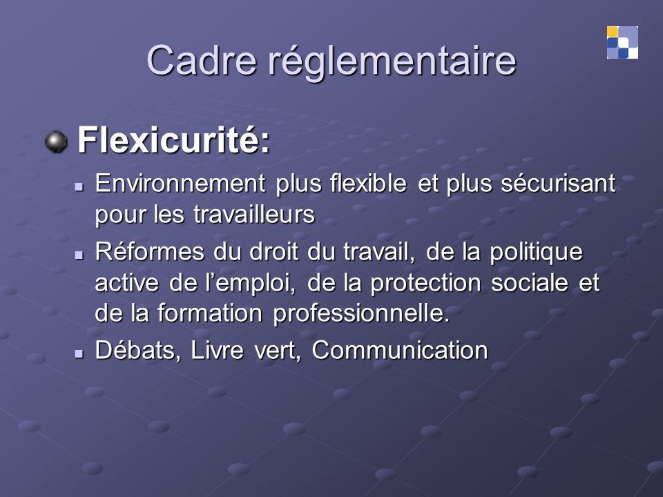 Cadre réglementaire Flexicurité: Flexicurité: Environnement plus flexible et plus sécurisant pour les travailleurs Environnement plus flexible et plus