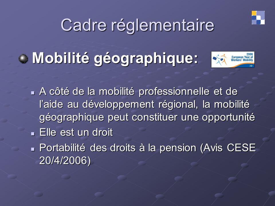 Cadre réglementaire Mobilité géographique: Mobilité géographique: A côté de la mobilité professionnelle et de laide au développement régional, la mobi