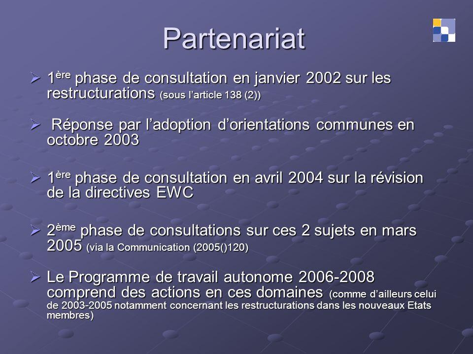 Partenariat 1 ère phase de consultation en janvier 2002 sur les restructurations (sous larticle 138 (2)) 1 ère phase de consultation en janvier 2002 s