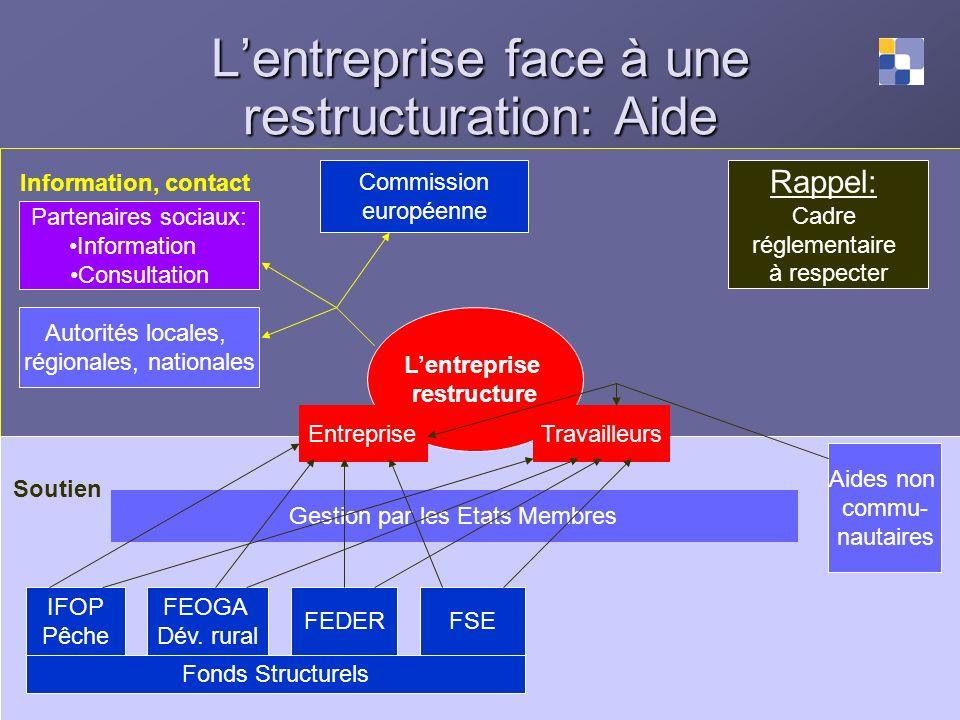 Lentreprise face à une restructuration: Aide Information, contact Soutien Rappel: Cadre réglementaire à respecter Lentreprise restructure Partenaires