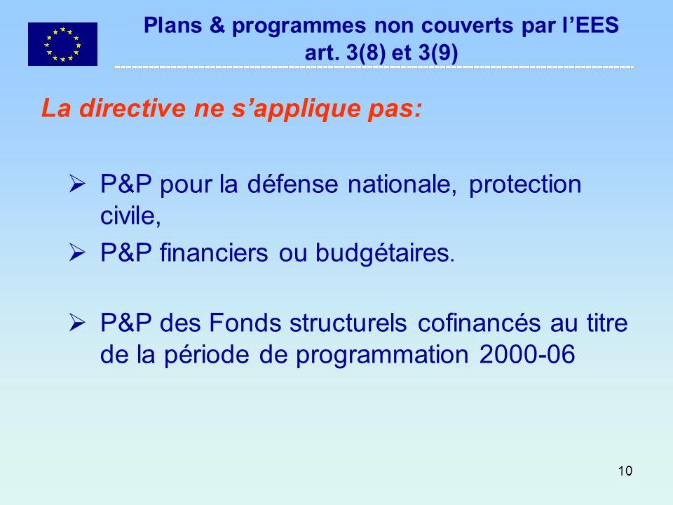 10 Plans & programmes non couverts par lEES art. 3(8) et 3(9) La directive ne sapplique pas: P&P pour la défense nationale, protection civile, P&P fin