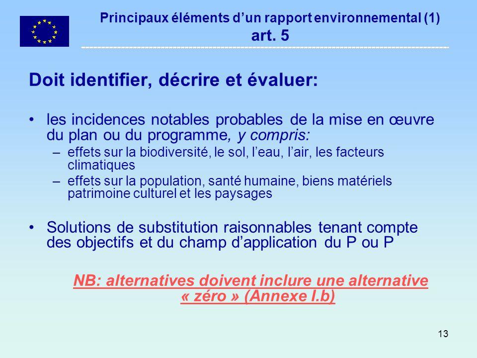 13 Principaux éléments dun rapport environnemental (1) art. 5 Doit identifier, décrire et évaluer: les incidences notables probables de la mise en œuv