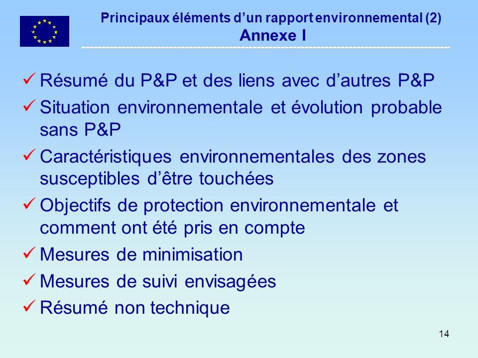 14 Principaux éléments dun rapport environnemental (2) Annexe I Résumé du P&P et des liens avec dautres P&P Situation environnementale et évolution pr