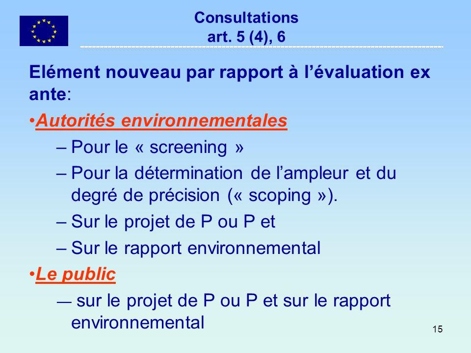15 Consultations art. 5 (4), 6 Elément nouveau par rapport à lévaluation ex ante: Autorités environnementales –Pour le « screening » –Pour la détermin