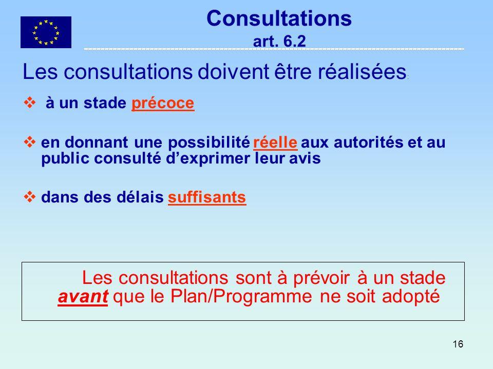 16 Consultations art. 6.2 Les consultations doivent être réalisées : à un stade précoce en donnant une possibilité réelle aux autorités et au public c