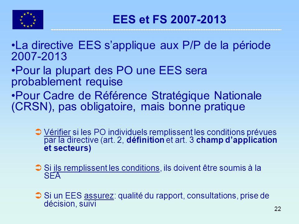 22 EES et FS 2007-2013 La directive EES sapplique aux P/P de la période 2007-2013 Pour la plupart des PO une EES sera probablement requise Pour Cadre