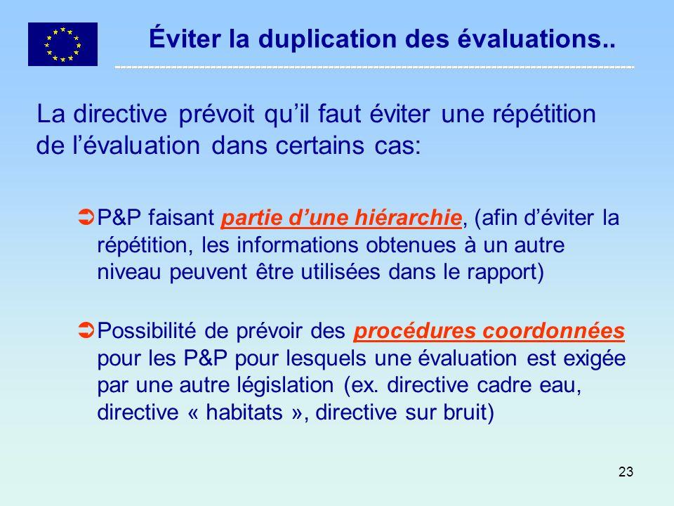 23 Éviter la duplication des évaluations.. La directive prévoit quil faut éviter une répétition de lévaluation dans certains cas: P&P faisant partie d