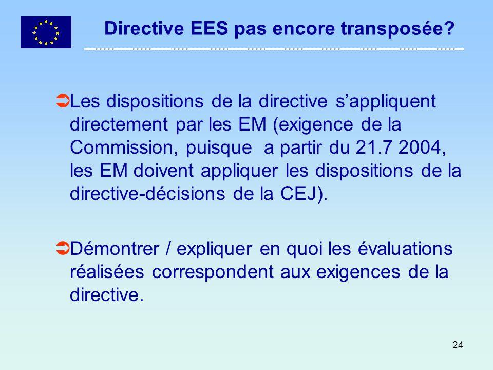24 Directive EES pas encore transposée? Les dispositions de la directive sappliquent directement par les EM (exigence de la Commission, puisque a part