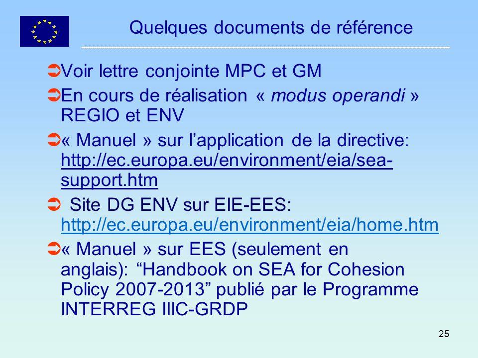 25 Quelques documents de référence Voir lettre conjointe MPC et GM En cours de réalisation « modus operandi » REGIO et ENV « Manuel » sur lapplication