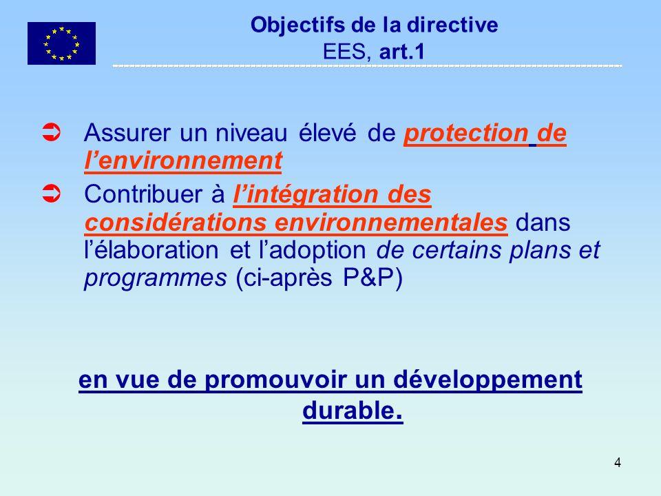 4 Objectifs de la directive EES, art.1 Assurer un niveau élevé de protection de lenvironnement Contribuer à lintégration des considérations environnem