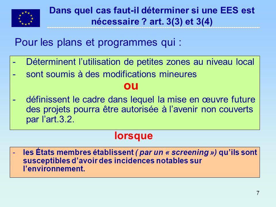 7 Dans quel cas faut-il déterminer si une EES est nécessaire ? art. 3(3) et 3(4) -Déterminent lutilisation de petites zones au niveau local -sont soum