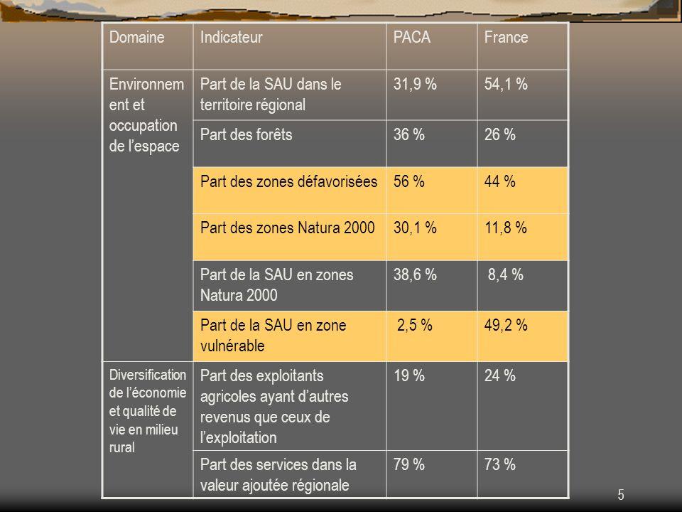 DRAF PACA - 15/02/20076 DomaineIndicateurPACAFrance Approche LEADER Nombre de GAL LEADER +10133 Part de la population régionale située sur les territoires des GAL LEADER + 11 %15 % Part de la superficie régionale correspondant aux territoires des GAL LEADER + 57 %41 %