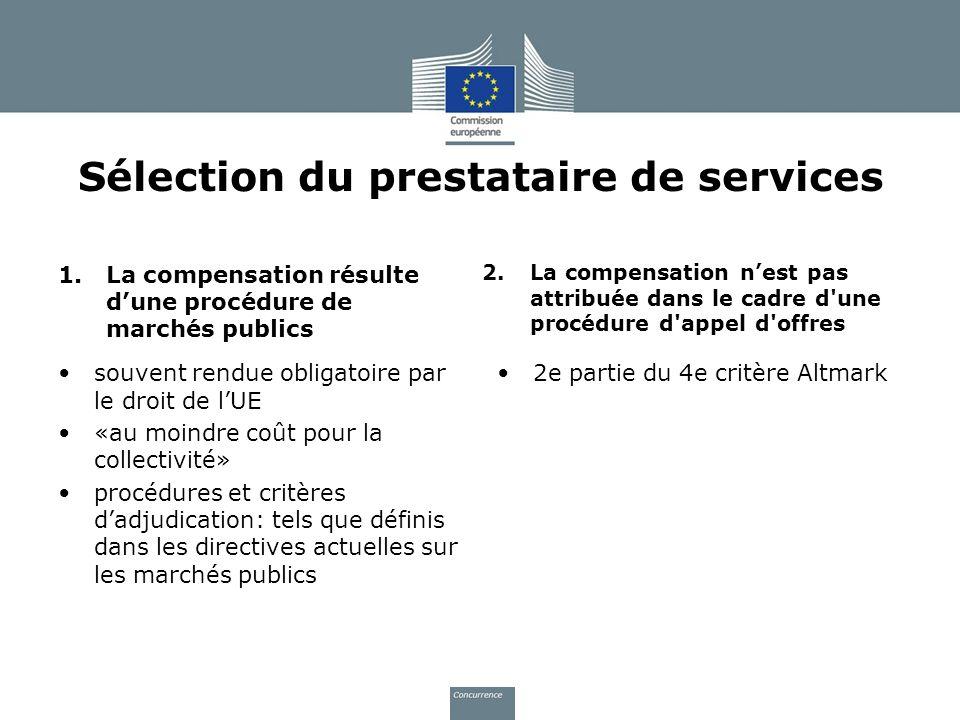 Sélection du prestataire de services 1.La compensation résulte dune procédure de marchés publics souvent rendue obligatoire par le droit de lUE «au mo