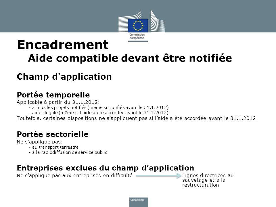 Encadrement Aide compatible devant être notifiée Champ d'application Portée temporelle Applicable à partir du 31.1.2012: - à tous les projets notifiés