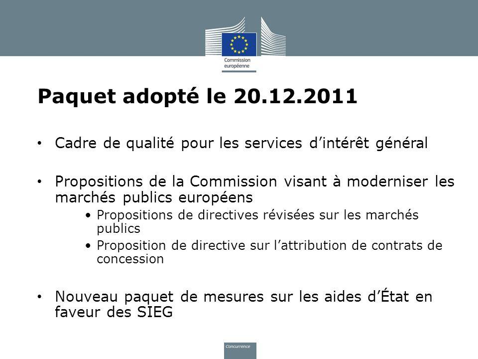Paquet adopté le 20.12.2011 Cadre de qualité pour les services dintérêt général Propositions de la Commission visant à moderniser les marchés publics