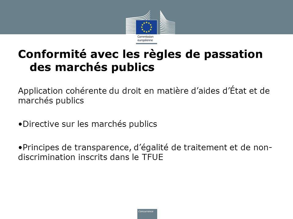 Conformité avec les règles de passation des marchés publics Application cohérente du droit en matière daides dÉtat et de marchés publics Directive sur