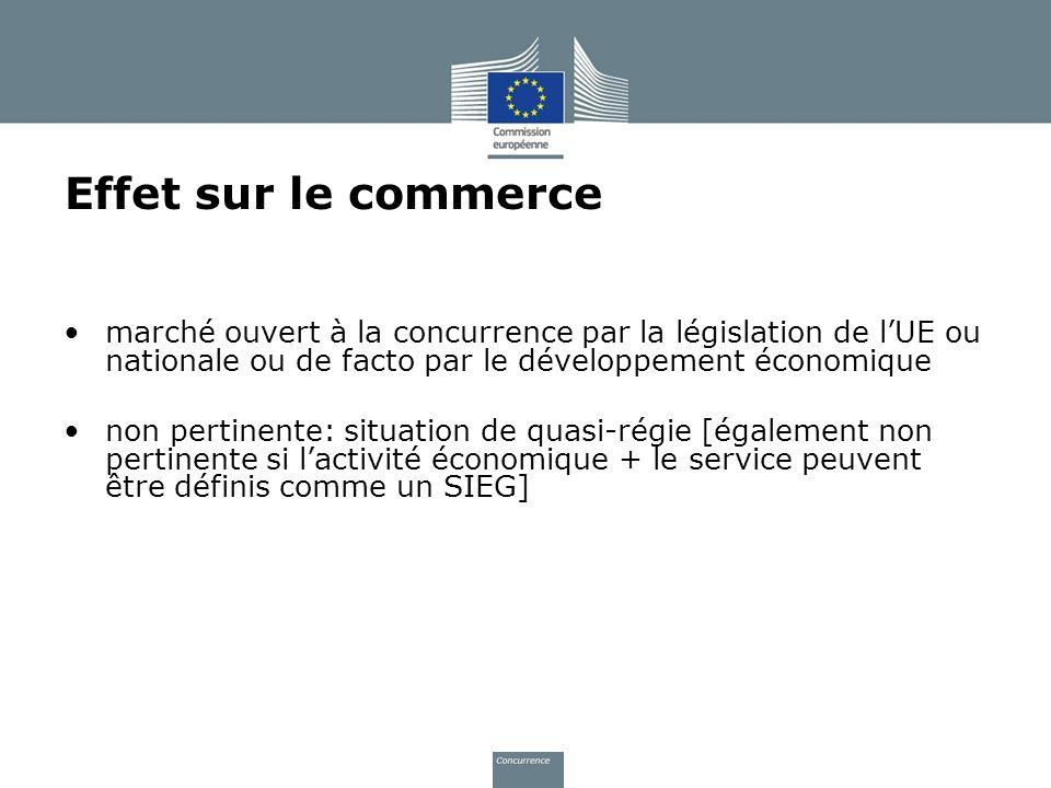 Effet sur le commerce marché ouvert à la concurrence par la législation de lUE ou nationale ou de facto par le développement économique non pertinente