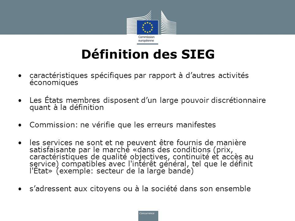 Définition des SIEG caractéristiques spécifiques par rapport à dautres activités économiques Les États membres disposent dun large pouvoir discrétionn