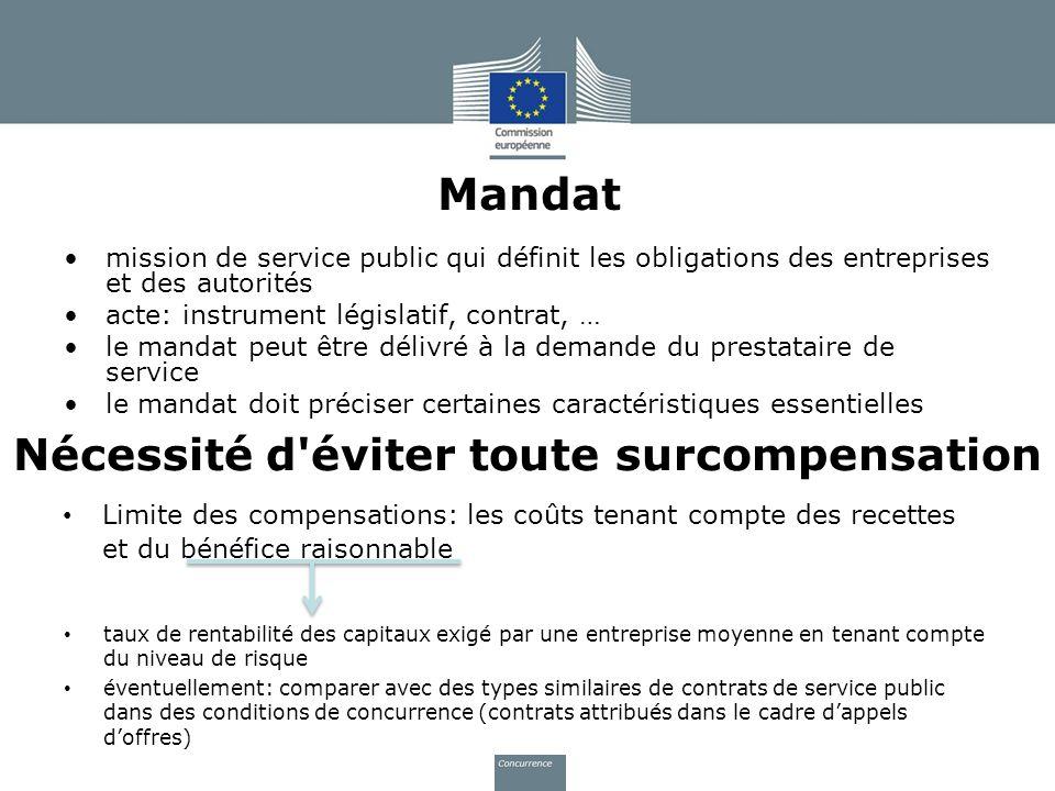 Mandat mission de service public qui définit les obligations des entreprises et des autorités acte: instrument législatif, contrat, … le mandat peut ê