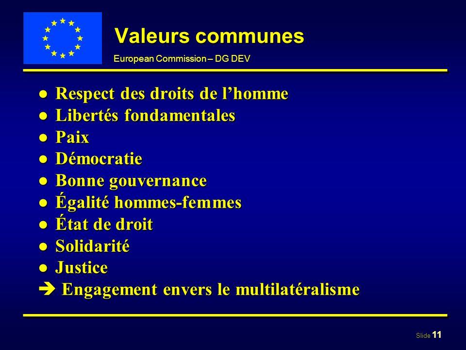 Slide 11 European Commission – DG DEV Valeurs communes Respect des droits de lhommeRespect des droits de lhomme Libertés fondamentalesLibertés fondame