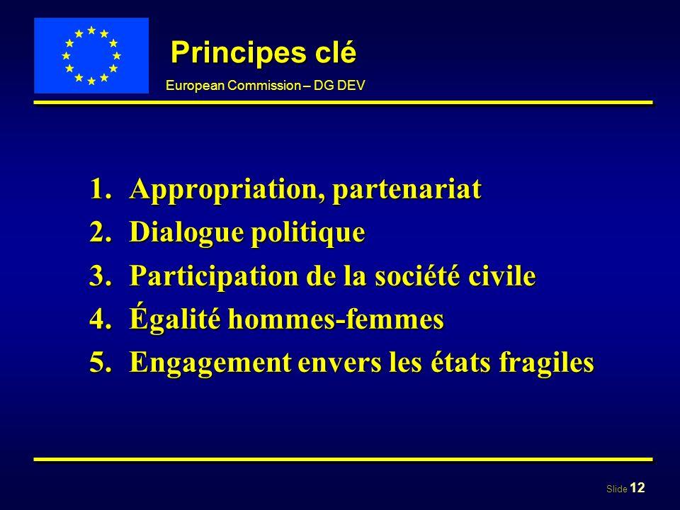 Slide 12 European Commission – DG DEV Principes clé 1.Appropriation, partenariat 2.Dialogue politique 3.Participation de la société civile 4.Égalité h