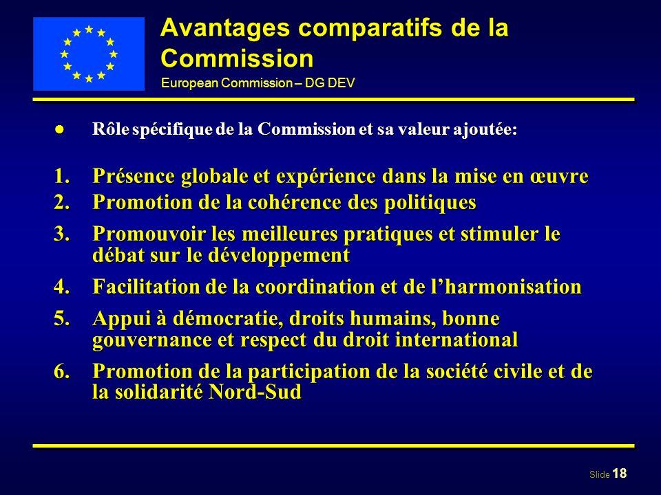 Slide 18 European Commission – DG DEV Avantages comparatifs de la Commission Rôle spécifique de la Commission et sa valeur ajoutée:Rôle spécifique de