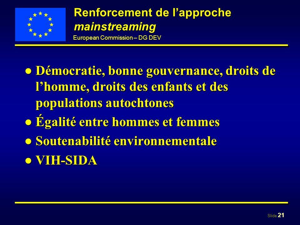 Slide 21 European Commission – DG DEV Renforcement de lapproche mainstreaming Démocratie, bonne gouvernance, droits de lhomme, droits des enfants et d