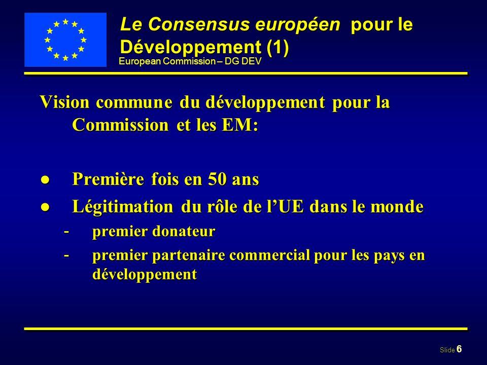 Slide 7 European Commission – DG DEV Le Consensus européen sur le Développement (2) Déclaration conjointe Conseil, Commission, ParlementDéclaration conjointe Conseil, Commission, Parlement Deux parties: Deux parties: - I: La vision de lUE pour le développement (EM + Commission) (EM + Commission) - II: La politique de développement de la Communauté européenne (Commission)