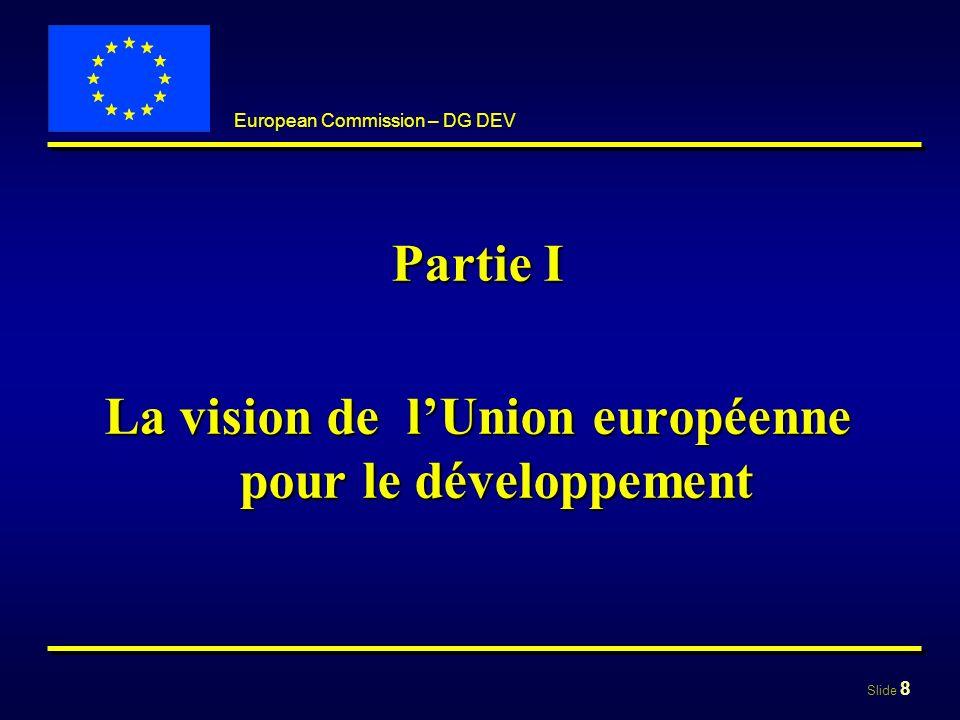 Slide 9 European Commission – DG DEV Objectifs Objectif central:Objectif central: réduction de la pauvreté et son éradication à terme dans un contexte de développement durable réduction de la pauvreté et son éradication à terme dans un contexte de développement durable Objectifs du Millénaire pour le développementObjectifs du Millénaire pour le développement Objectifs complementaires:Objectifs complementaires: bonne gouvernance, droits de lhomme bonne gouvernance, droits de lhomme