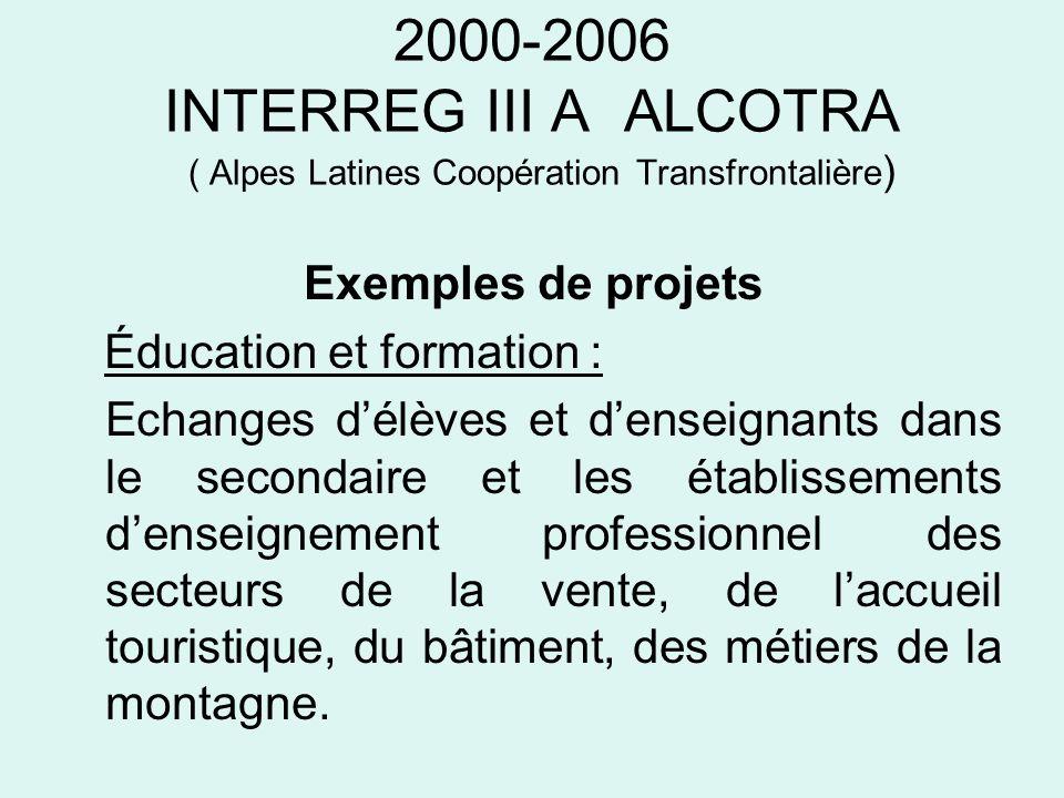2000-2006 INTERREG III A ALCOTRA ( Alpes Latines Coopération Transfrontalière ) Exemples de projets Éducation et formation : Echanges délèves et dense