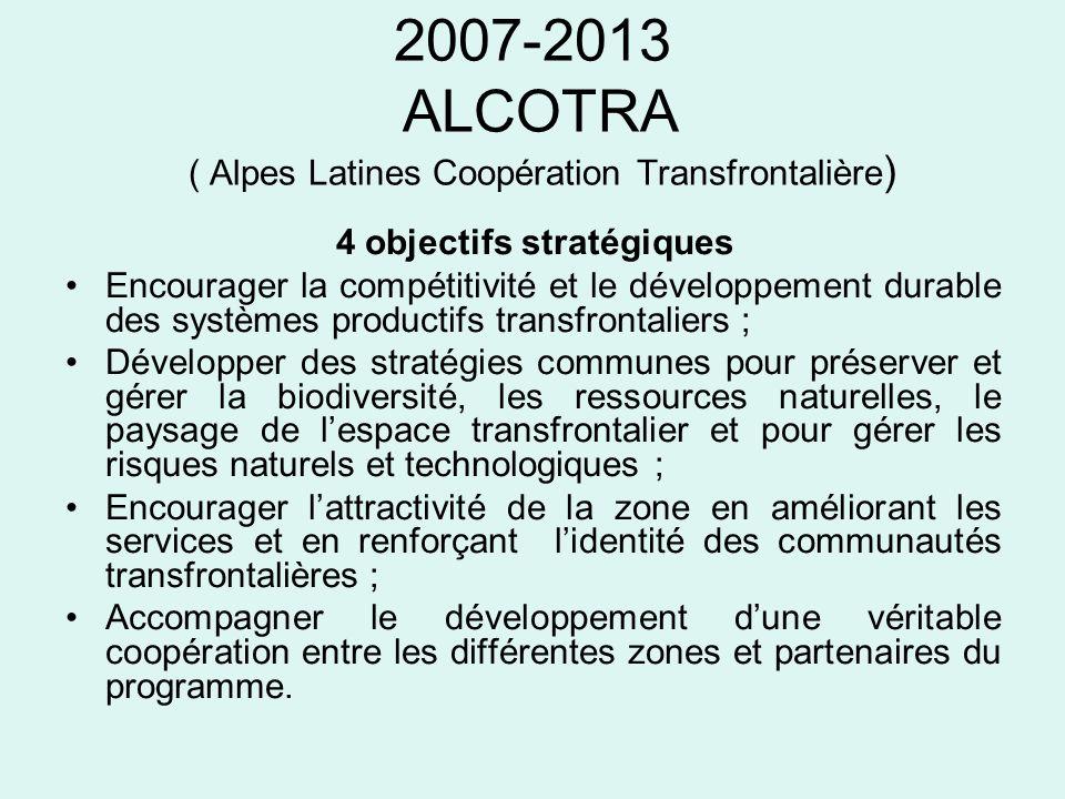 2007-2013 ALCOTRA ( Alpes Latines Coopération Transfrontalière ) 4 objectifs stratégiques Encourager la compétitivité et le développement durable des