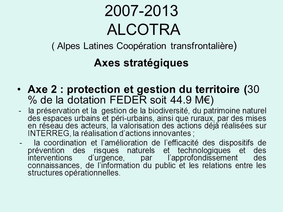 2007-2013 ALCOTRA ( Alpes Latines Coopération transfrontalière ) Axes stratégiques Axe 2 : protection et gestion du territoire (30 % de la dotation FE