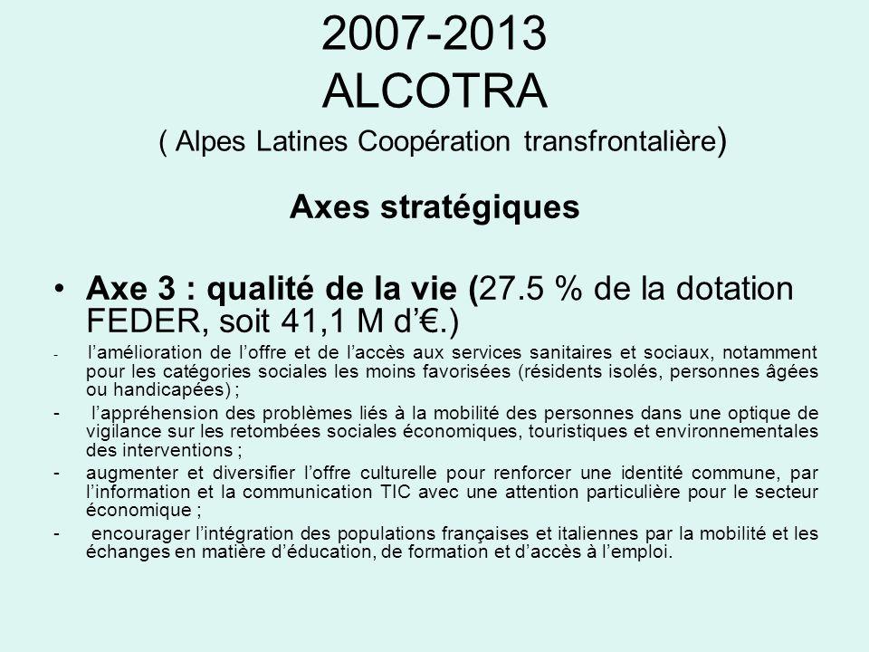 2007-2013 ALCOTRA ( Alpes Latines Coopération transfrontalière ) Axes stratégiques Axe 3 : qualité de la vie (27.5 % de la dotation FEDER, soit 41,1 M