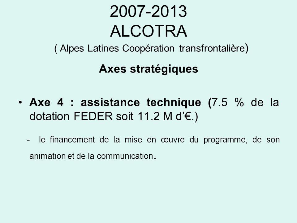 2007-2013 ALCOTRA ( Alpes Latines Coopération transfrontalière ) Axes stratégiques Axe 4 : assistance technique (7.5 % de la dotation FEDER soit 11.2