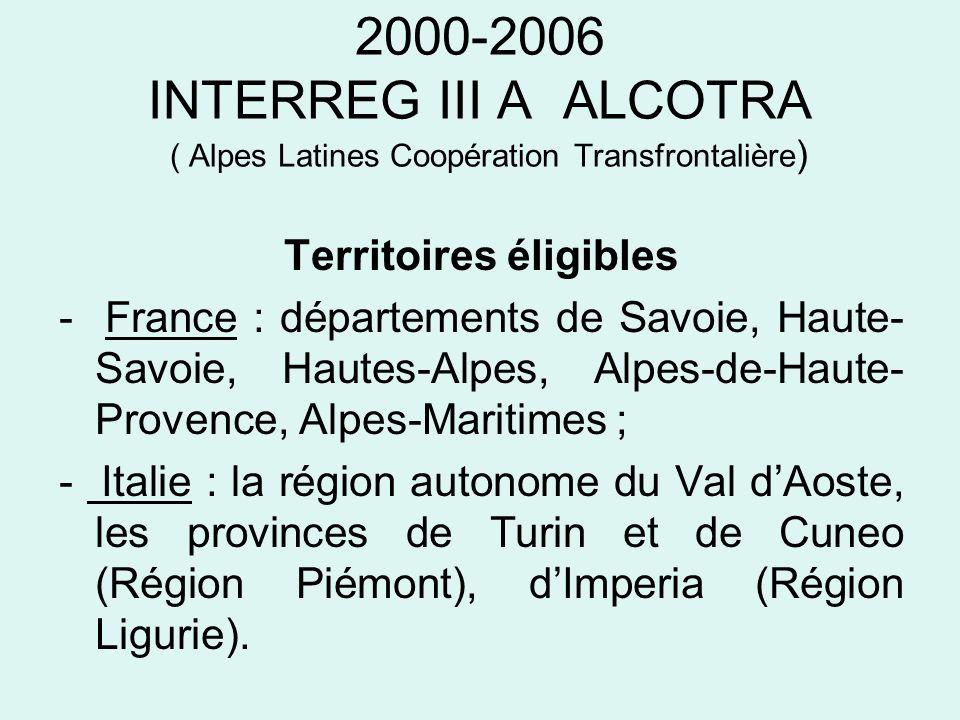 2007-2013 ALCOTRA ( Alpes Latines Coopération transfrontalière ) Axes stratégiques Axe 2 : protection et gestion du territoire (30 % de la dotation FEDER soit 44.9 M) - la préservation et la gestion de la biodiversité, du patrimoine naturel des espaces urbains et péri-urbains, ainsi que ruraux, par des mises en réseau des acteurs, la valorisation des actions déjà réalisées sur INTERREG, la réalisation dactions innovantes ; - la coordination et lamélioration de lefficacité des dispositifs de prévention des risques naturels et technologiques et des interventions durgence, par lapprofondissement des connaissances, de linformation du public et les relations entre les structures opérationnelles.