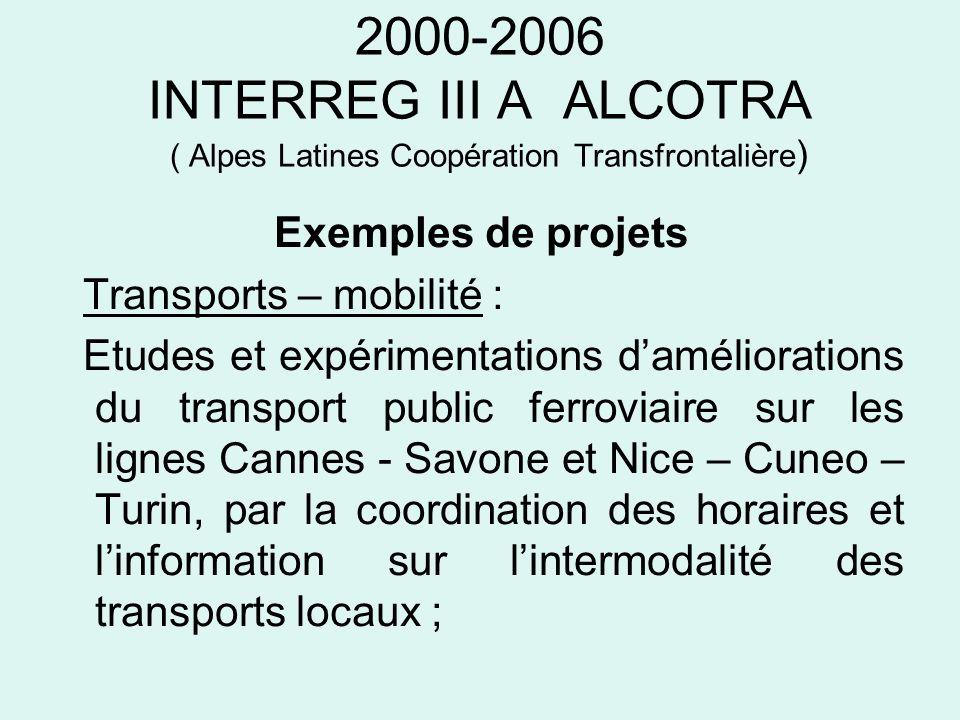 2000-2006 INTERREG III A ALCOTRA ( Alpes Latines Coopération Transfrontalière ) Exemples de projets Transports – mobilité : Etudes et expérimentations
