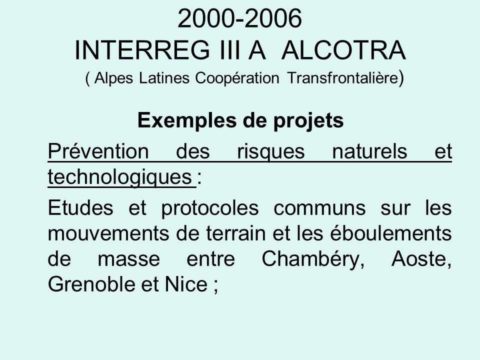 2000-2006 INTERREG III A ALCOTRA ( Alpes Latines Coopération Transfrontalière ) Exemples de projets Prévention des risques naturels et technologiques