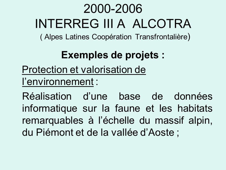 2000-2006 INTERREG III A ALCOTRA ( Alpes Latines Coopération Transfrontalière ) Exemples de projets : Protection et valorisation de lenvironnement : R