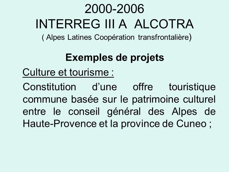 2000-2006 INTERREG III A ALCOTRA ( Alpes Latines Coopération Transfrontalière ) Exemples de projets Éducation et formation : Echanges délèves et denseignants dans le secondaire et les établissements denseignement professionnel des secteurs de la vente, de laccueil touristique, du bâtiment, des métiers de la montagne.
