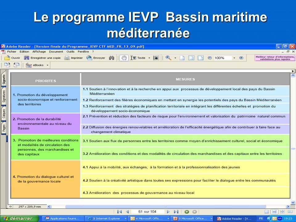 Le programme IEVP Bassin maritime méditerranée Le programme IEVP Bassin maritime méditerranée