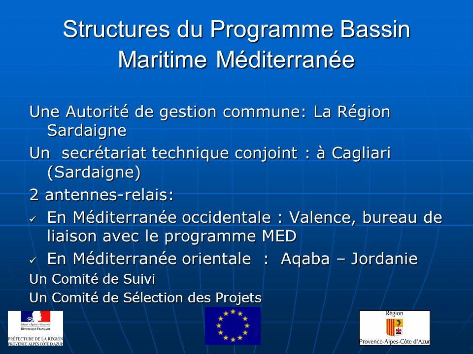 Structures du Programme Bassin Maritime Méditerranée Une Autorité de gestion commune: La Région Sardaigne Un secrétariat technique conjoint : à Caglia