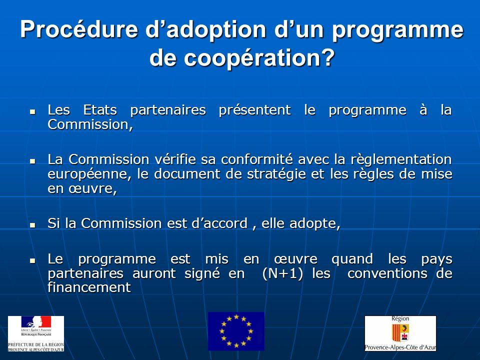 Procédure dadoption dun programme de coopération? Les Etats partenaires présentent le programme à la Commission, Les Etats partenaires présentent le p