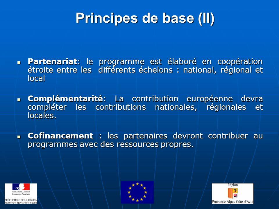 Principes de base (II) Partenariat: le programme est élaboré en coopération étroite entre les différents échelons : national, régional et local Parten