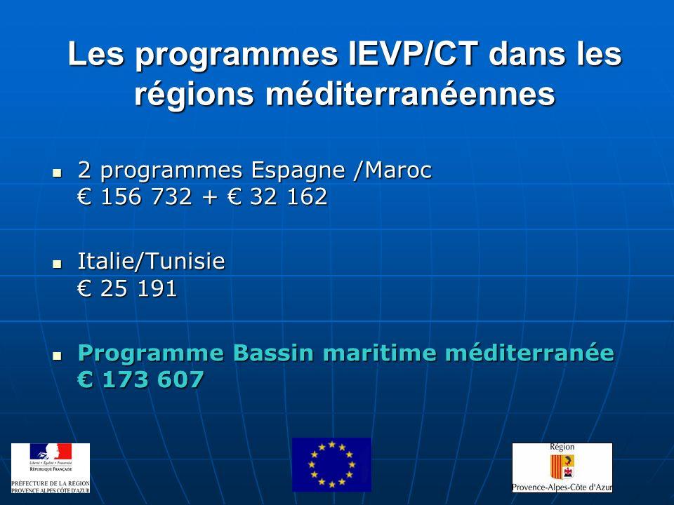Les programmes IEVP/CT dans les régions méditerranéennes 2 programmes Espagne /Maroc 156 732 + 32 162 2 programmes Espagne /Maroc 156 732 + 32 162 Ita