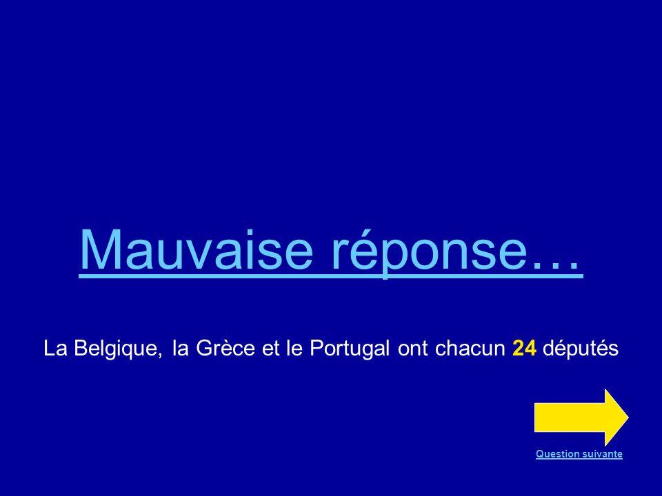 Bonne réponse !!! La Belgique, la Grèce et le Portugal ont chacun 24 députés Question suivante