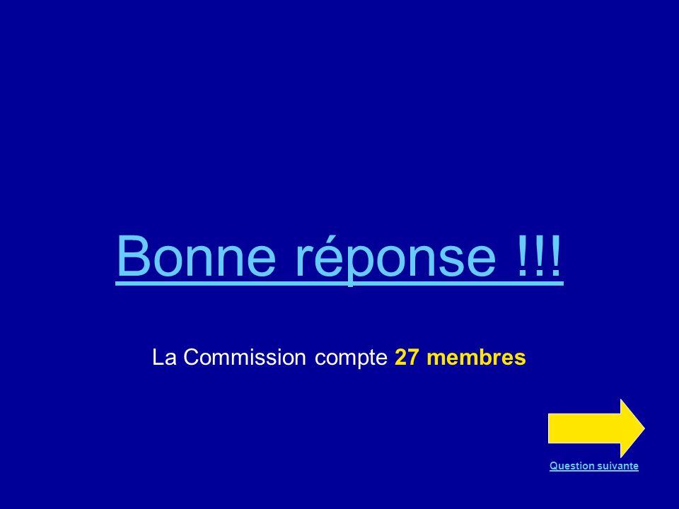 Question n°5 La Commission européenne actuelle compte… 20 membres 25 membres 27 membres